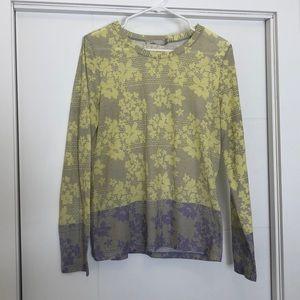Prana Neon Yellow Purple Floral Long Sleeve Top